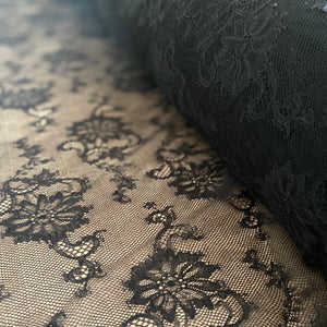 Black Sophie Hallette Allover Rigid Leavers Lace (130cm wide) - 1m