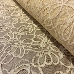 Buttermilk Cream Ivory Sophie Hallette Allover Stretch Corded Lace (130cm wide) - 1m