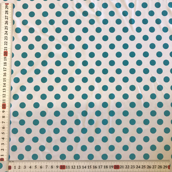 Aqua Blue & White Polka Dot Spot Lycra Fabric 1m
