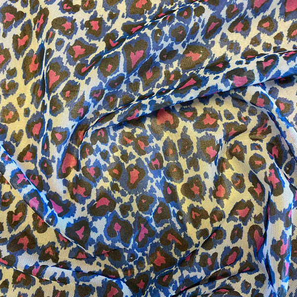 Blue Leopard Soft Lightweight Stretch Mesh Tulle Net - 1m