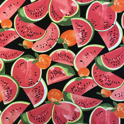 Stretch Orange & Watermelon on Black Lycra Fabric 1m