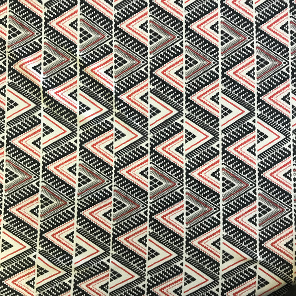 Stretch Black Red & White Aztec Triangles Lycra Fabric 1m