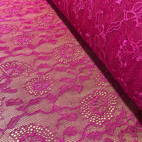 Pink Fuchsia Cerise Sophie Hallette Allover Leavers Lace (130cm wide) - 1m