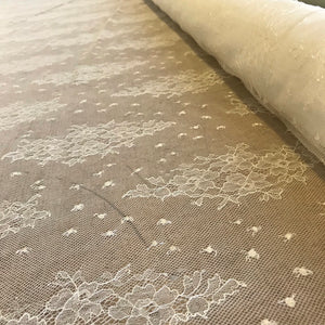 Ivory Allover Rigid Leavers Lace 1m