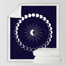 Load image into Gallery viewer, Phases of the Moon Sherpa Blanket - 4 / 130cmx150cm - Starsystems
