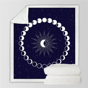 Phases of the Moon Sherpa Blanket - 4 / 130cmx150cm - Starsystems