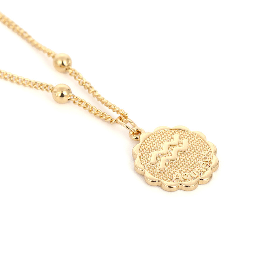 Zodiac Charms Necklace - Aquarius / Gold - Starsystems