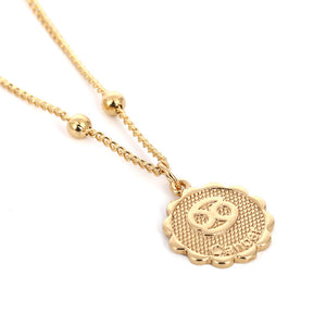 Zodiac Charms Necklace - Cancer / Gold - Starsystems