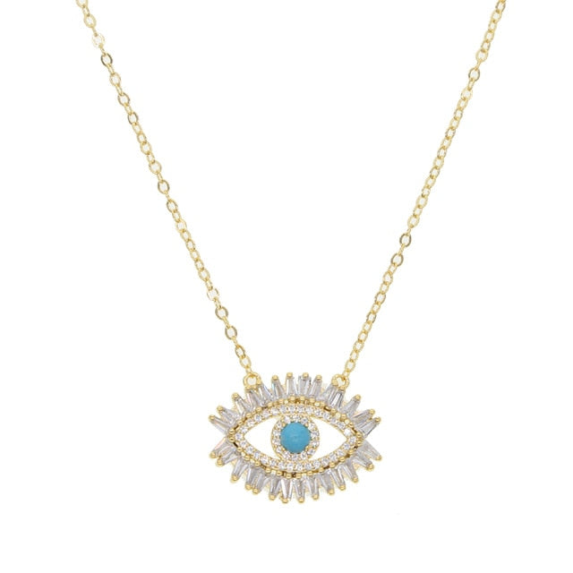 Turquoise Zodiac Eye Necklace - Gold-color / 40cm - Starsystems