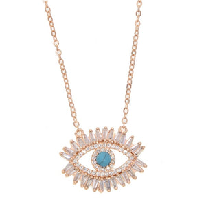 Turquoise Zodiac Eye Necklace - Rose Gold Color / 40cm - Starsystems