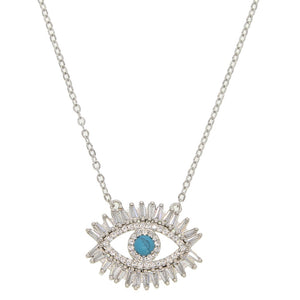 Turquoise Zodiac Eye Necklace - Platinum Plated / 40cm - Starsystems