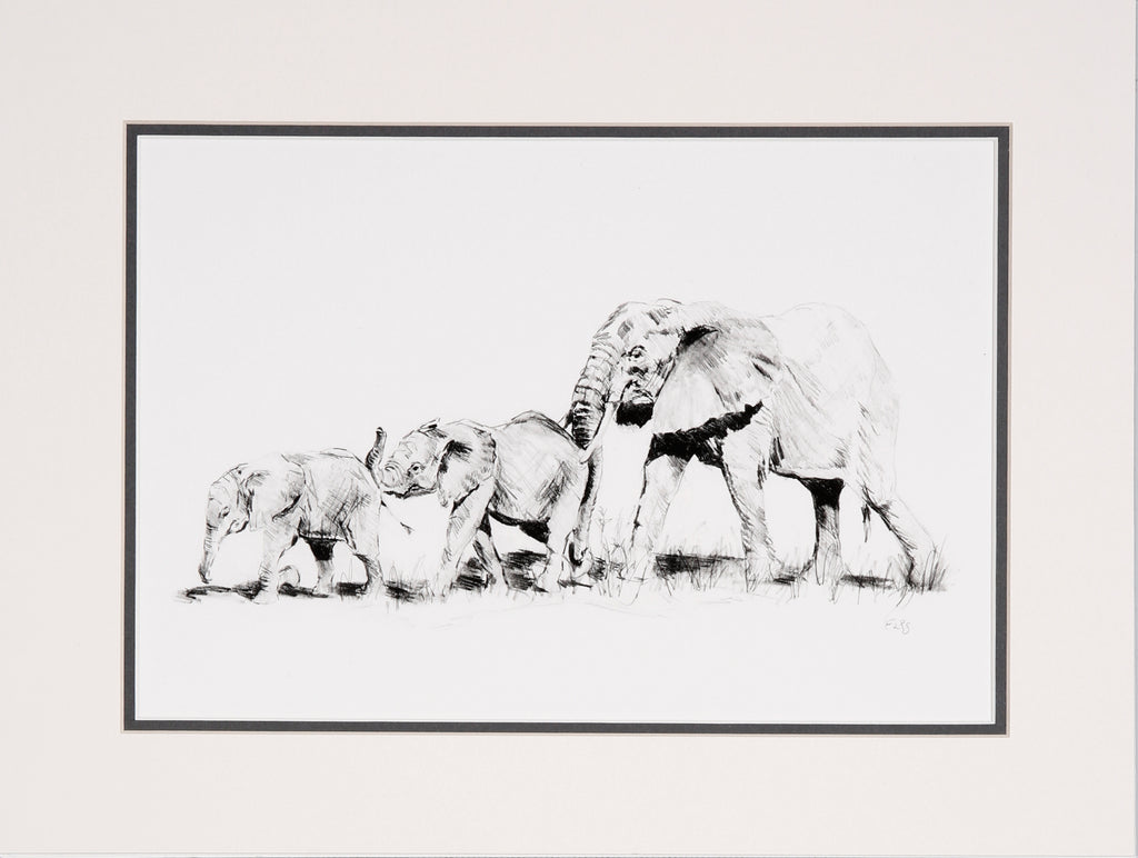 Elephant push along limited edition print