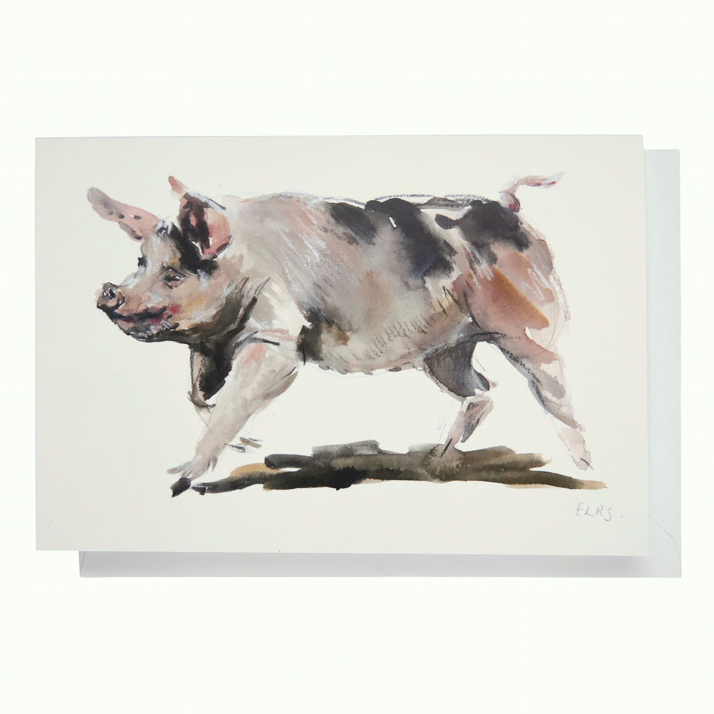 Greeting card: Running pig