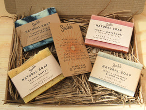 letterbox gift box 4 handcrafted assorted soap bars with clays & essential oils