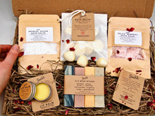 Load image into Gallery viewer, letterbox pamper hamper gift - handmade soap + bath melts + bath salts + lip balm