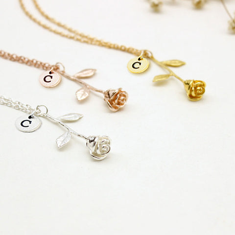 Rose Necklace With Initial Rose Pendant