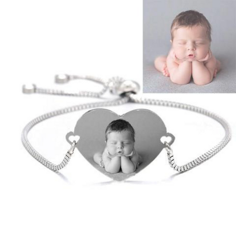 Custom Personalized Photo Heart Bangle Bracelet