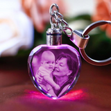 Engraving Photo Crystal Glass Keychain with LCD Light