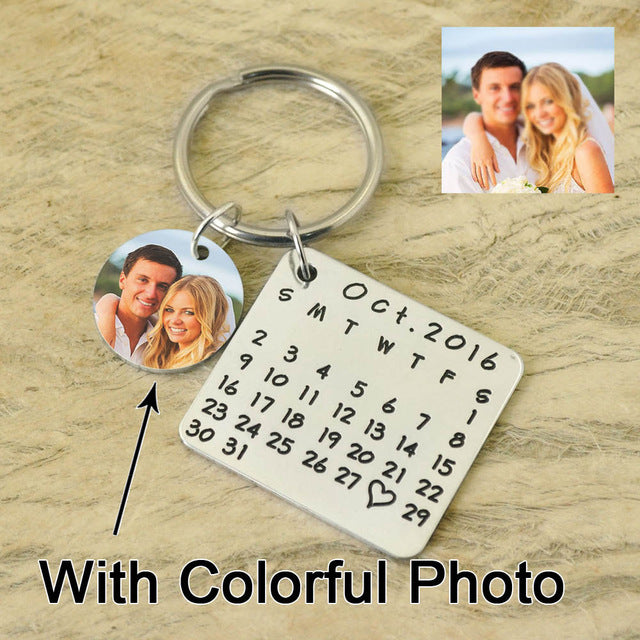 Save special date-heart  keychain