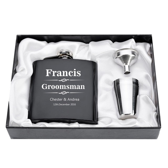 1 Set Personalized Engraved 6oz Black Stainless Steel Hip Flask With Box