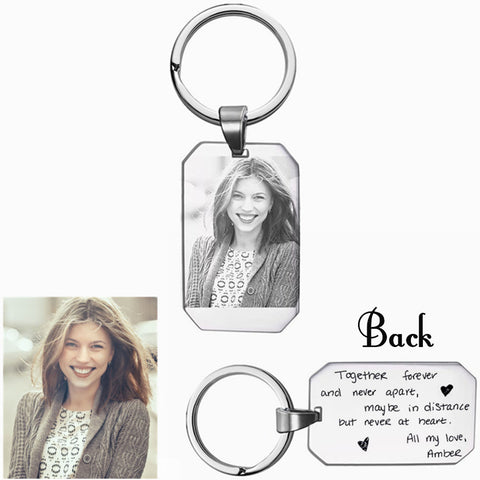 Custom Photo And Text  Stainless Steel Key Chains