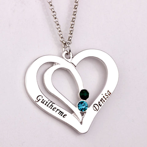 Engraved Couples Necklace with Birthstones