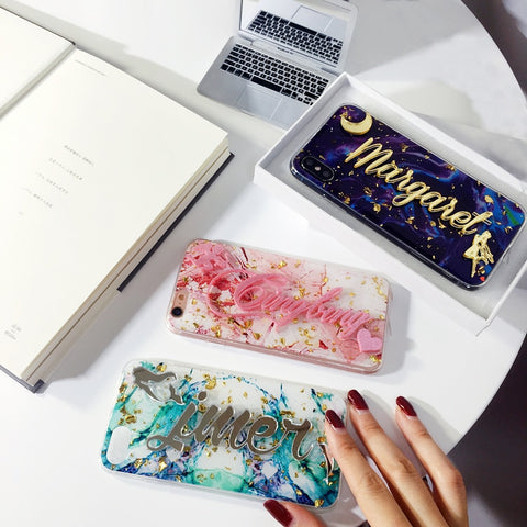 Customize Personal Name Marble Flake glitter bling Soft Phone Case For iPhone
