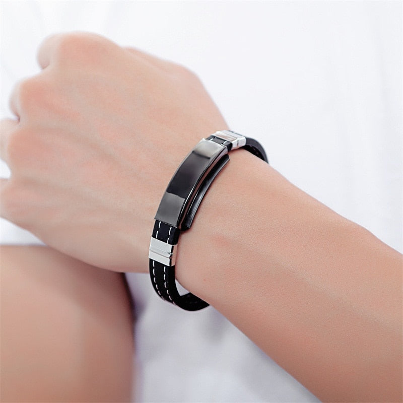 Personalize Black Silicone Leather Bracelet