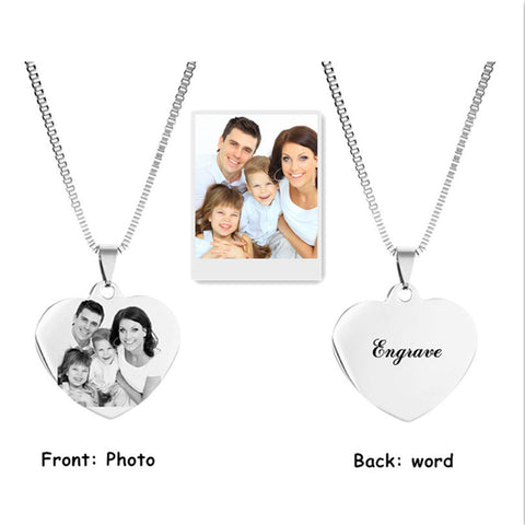 Engraved Photo Back / Name Pendant Necklace