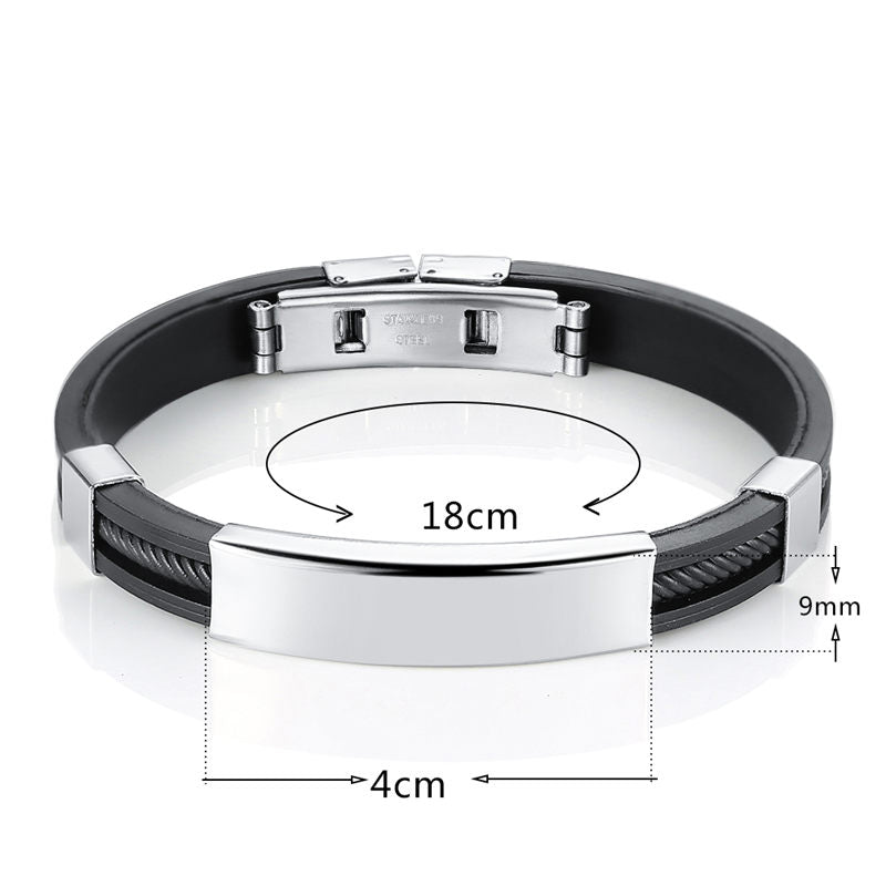 DIY Custom Silicon Stainless Steel Engrave Bracelet