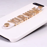 Real Leather Gold Letters Metal Luxury Bold Custom Name/Text For iPhones