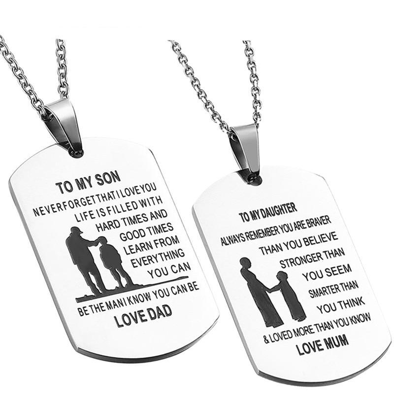 Engrave Name To My Son/ To My Daughter Pendant Necklaces