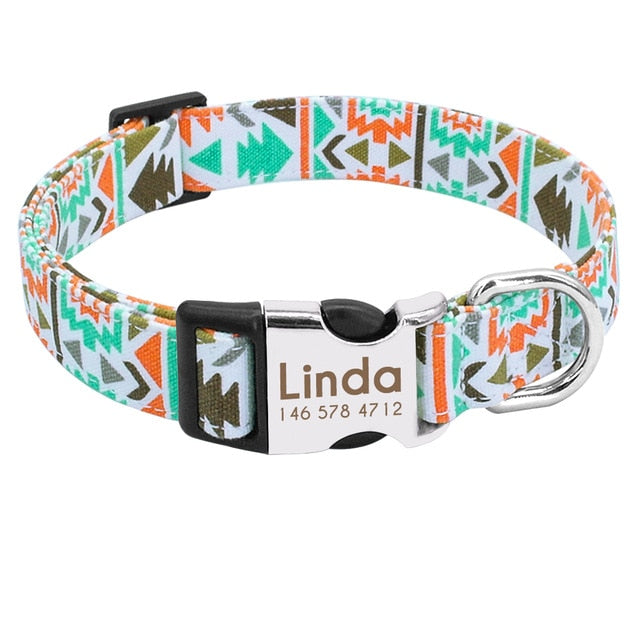 Colorful Dog Collar with Leash Set, Name/Phone Numbers