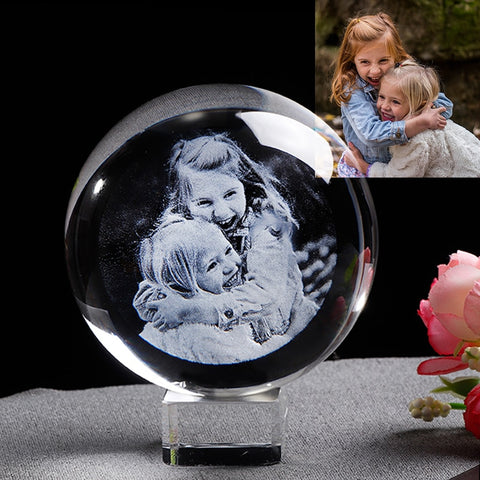 Laser Engraved Photo Crystal Ball Customized Glass Picture Sphere Globe Home Decor. Gift for Women