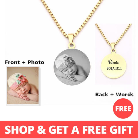 Personalized Engraved Photo/Text Pendants Necklace
