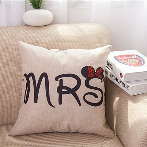 2pcs/set Mrs&Mr lovers custom linen pillow cover