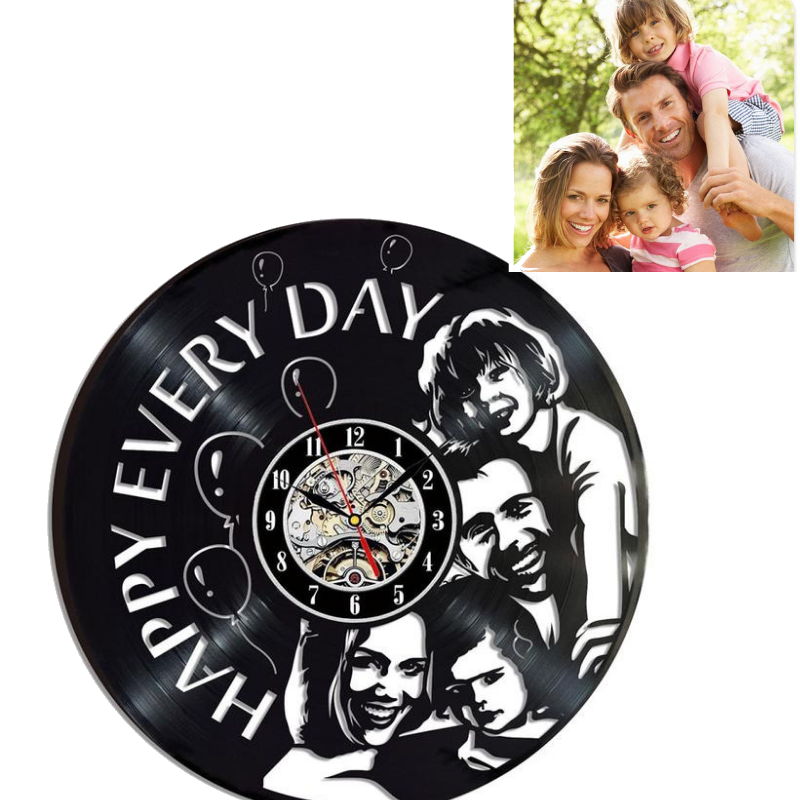 Personal Custom Made Black Vinyl Record Wall Clock