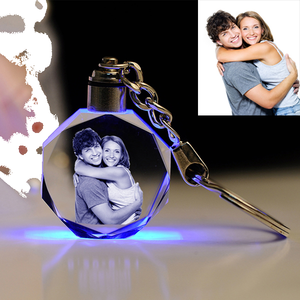 Crystal Glass Keychain with LCD Light