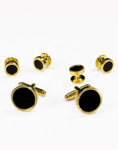 Set Botones & Gemelos Gold & Black