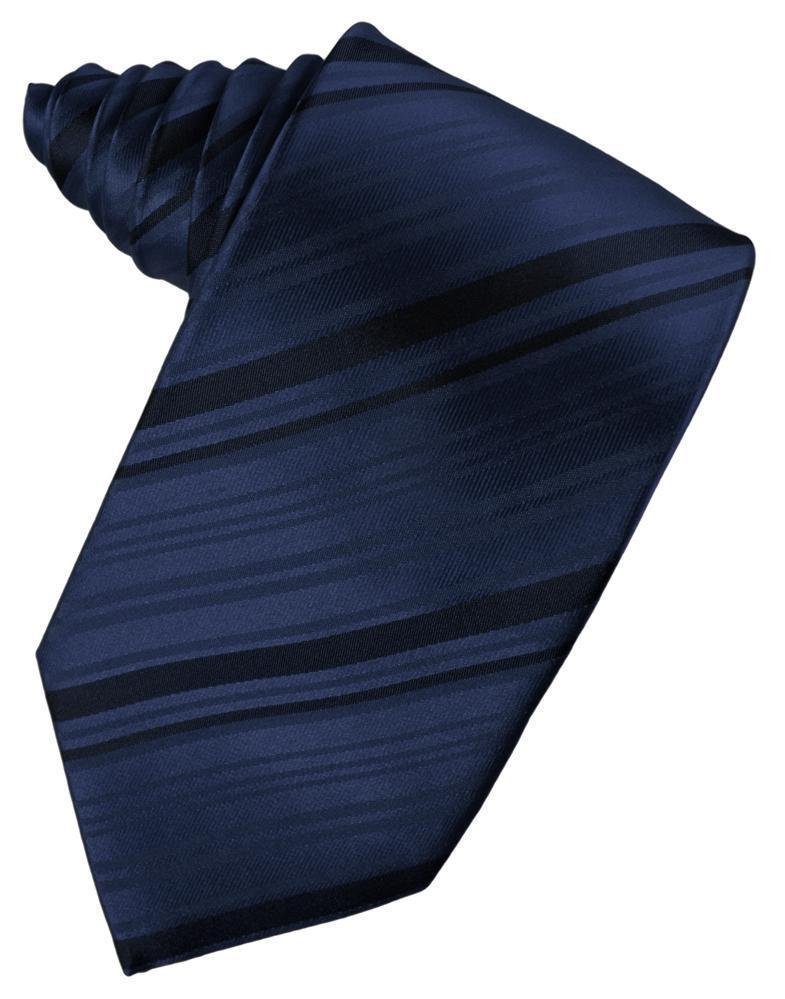 Corbata Striped Satin Marine Caballero