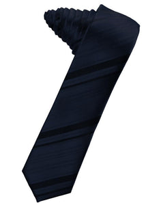 Corbata Striped Satin Skinny Midnight Blue Caballero