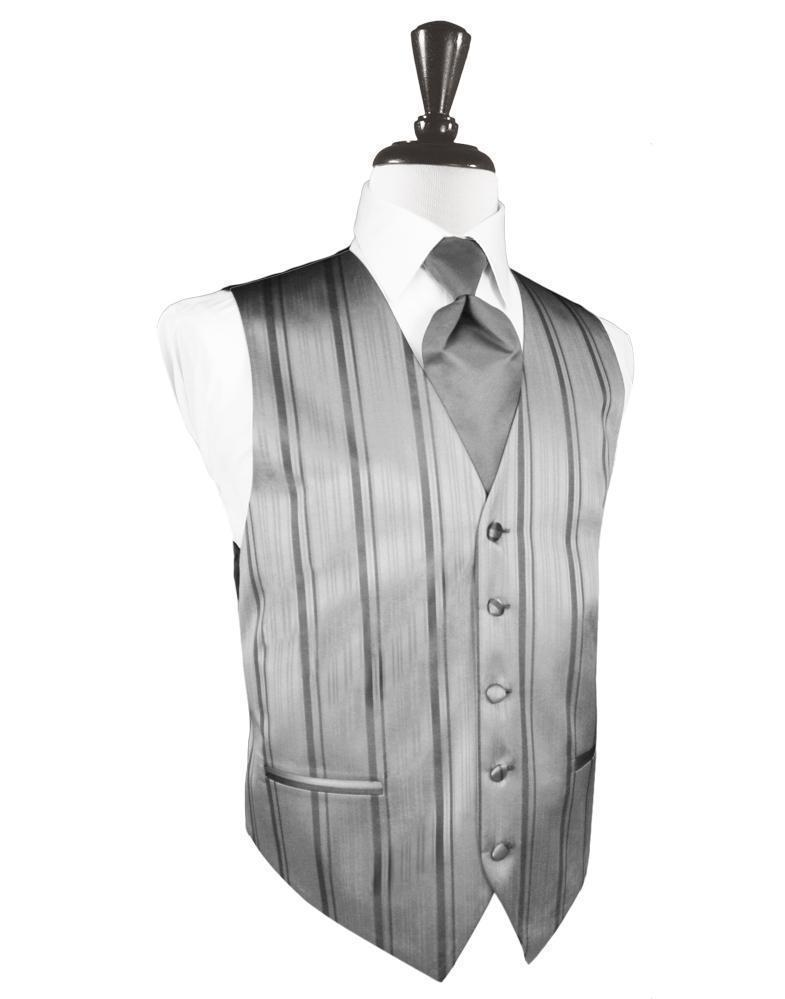 Chaleco Striped Satin Silver Caballero