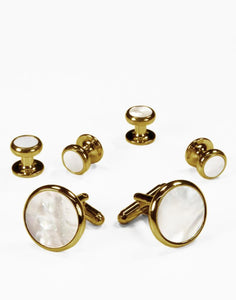 Set Botones & Gemelos Gold & White