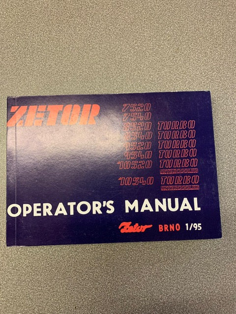 Operators Manual for Zetor 7520, 7540, 8520, 8540, 9520, 9540, 10520 and 10540.