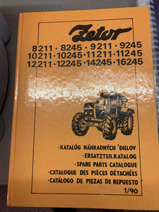 Spare Parts manual for Zetor 8211,8245, 9211, 9245, 10211, 10245, 11211, 11245,12211, 12245, 14245 and 16245