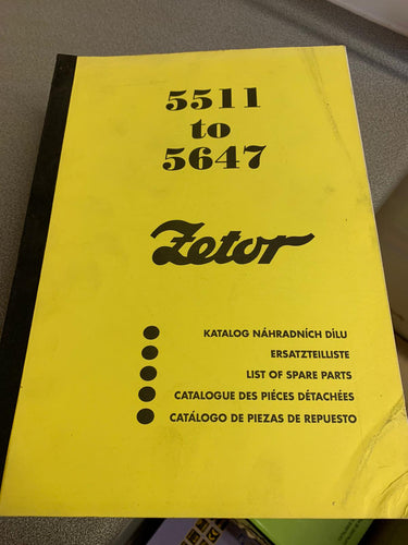 Spare Parts Manual for Zetor 5511 up to 5647