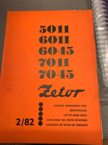Spare Parts Manual for Zetor 5011, 6011, 6045, 7011 and 7045.