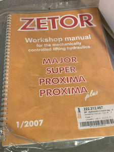 Workshop Manual for the Mechanically controlled lifting Hydraulics on Zetor Major, Super, Proxima and Proxima Plus.