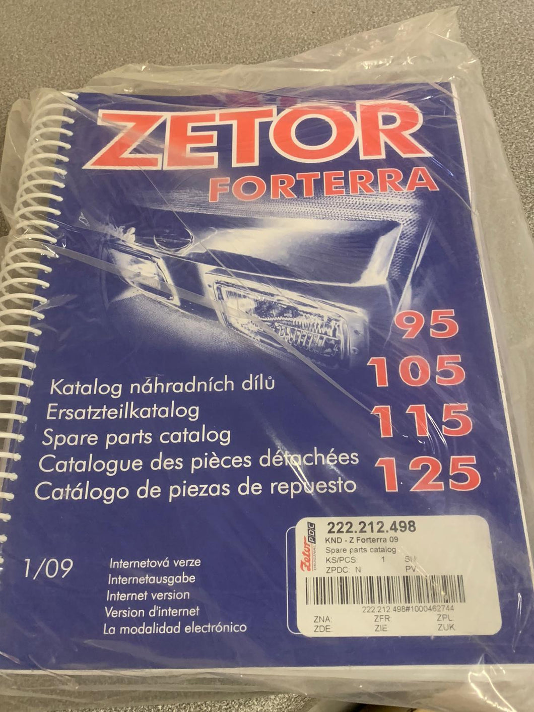 Spare Parts Manual for Zetor Forterra 95, 105, 115 and 125.