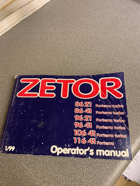 Operators Manual for Zetor Forterra 8621, 8641, 9621, 9641, 10641 and 11641.